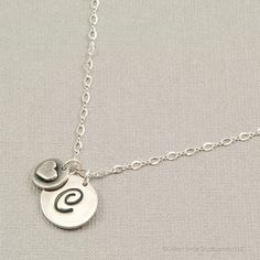 PMC initial necklace, fine silver initial pendant, personalized necklace, initial jewelry, sterling silver monogram necklace, initial disc. $52.00, via Etsy.