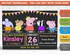 SALE 50%: Peppa Pig Digital Invitation Peppa Pig Instant Cars Birthday Invitations, Digital Invitations, Race Car Birthday, You Are Invited, Peppa Pig, Photo Cards, Rsvp, Etsy, Handmade Gifts