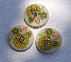 ceramic buttons - Awesome Retro Flower Decals - hand made  with vintage ceramic decals -