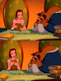 Belle reading Romeo And Juliet by William Shakespeare to the Beast.  <3