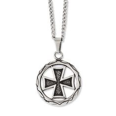 Men's Steel Antiqued Maltese Cross Circle Pendant Men's Jewelry Available Exclusively at Gemologica.com