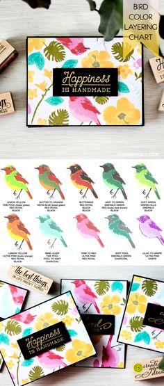 Color Layering Chart for Hero Arts Bird & Branch bird image using Hero Arts Shadow Inks. Create a hot tropical pattern for 4 card using Hero Arts Color Layering Stamps & Shadow Inks. For details and video tutorial, visit http://www.yanasmakula.com/?p=51030