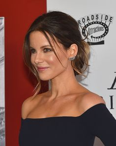 Kate Beckinsale Classic Bun - Kate Beckinsale sported a chic updo with wispy strands of loose hair for a slightly messy look at the 'Love & Friendship' New York screening.