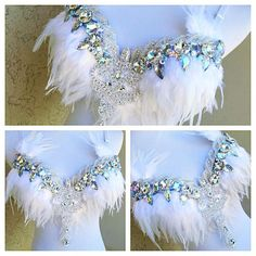 Feather and applique bra inspiration with tips at the strap Rave Costumes, Burlesque Costumes, Belly Dance Costumes, Carnival Costumes, Fairy Costumes, Festival Outfits, Festival Fashion, Fantasy Bra, Fantasy Hair
