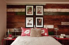 Gorgeous beach style bedroom with a unique reclaimed wood accent wall [Design: Garrison Hullinger Interior Design] Reclaimed Wood Accent Wall, Salvaged Wood, Recycled Wood, Reclaimed Timber, Repurposed Wood, Wood Wall Design, Plank Walls, Wood Walls, Wood Paneling