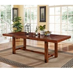 Dark Oak Wood Dining Table Walker Edison Furniture Co. Dining Tables Dining Tables