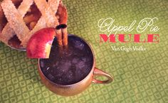 This Appel Pie Mule is the perfect fall recipe to rival grandma's homemade apple pie!  Appel Pie Mule – 2 oz. apple cider, 2 oz. Van Gogh Wild Appel Vodka, ½ bottle ginger beer, cinnamon sticks. Fill a copper mug with crushed ice. In a cocktail shaker, combine the apple cider and vodka. Shake to combine. Pour into mug and top with ginger beer. Garnish with cinnamon sticks and apple slices.