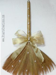 "Wedding Jumping Brooms for Sale | 36"" wedding broom decorated with Calla Lilly and Roses with of Gold ..."