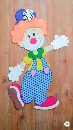 Kids Crafts, Clown Crafts, Carnival Crafts, Foam Crafts, Preschool Crafts, Paper Crafts, Class Decoration, School Decorations, Diy Bow