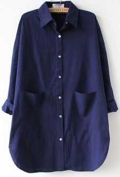 Navy Long Sleeve Pocket Lapel Loose Blouse - Sheinside.com