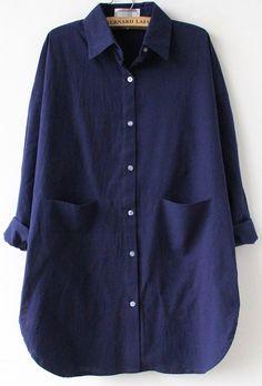 Blusa suelta solapa bolsillo manga larga-marino US$31.67
