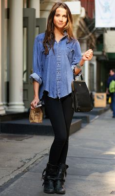 Early Fall: denim, black pants, boots. Add a scarf.  I'm always interested in ways to wear a denim shirt without looking like a slob.