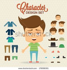 stock-vector-cute-character-design-with-elements-accessories-clothes-prepared-for-animation-176098301.jpg (450×470)