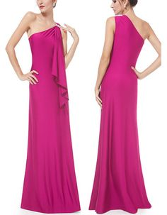 Sexy One Shoulder Sleeveless Long Prom Evening Dress