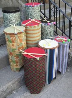Drum making for drummies :-) uses recycled materials. Class can make individual ones to complement Djembes