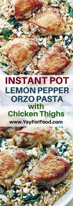 Instant Pot Lemon Pepper Orzo with Chicken Thighs - Tasty, flavourful, and super easy to make in the Instant Pot! This lemon pepper orzo (aka risoni) and chicken dish is perfect for a weeknight meal. #instantpot | #chickenrecipes | #pasta | #dinnerrecipes | #orzo | #risoni | #easyrecipes | #pressurecooker | #lemonchicken