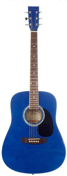 Barcelona Beginner Series 41-Inch Full-Size Dreadnought Acoustic Guitar - Blue. Ideal for beginning musicians. Rosewood fretboard and bridge. Stainless diecast tuning pegs.