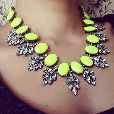 bright neon and diamond statement necklace