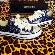 322c8a14ad9081 Full Rhinestoned Ombré Converse with Ribbon Laces from ConverseCustomized  on Etsy.