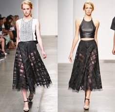 Sachin + Babi 2014 Spring Summer Womens Runway Collection - New York Fashion Week - Crop Tops Flower Floral 3D Perforated Cutout Designs Bas...
