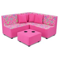 Kid's 7-Pc. Sectional Set - Daisy Doodle With Passion Pink - Kangaroo Trading Co.