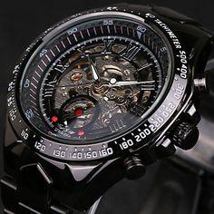 ea78909584d WINNER Homens Relógio Esqueleto Relógio de Pulso relógio mecânico Automático  - da corda automáticamente Aço Inoxidável Preta 30 m Impermeável Gravação  Oca ...