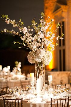 Cherry Branches/white hydrangeas.............Photography by ktmerry.com, Floral Design   Decor by parrishdesignslondon.com