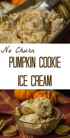 Super creamy pumpkin ice cream with cookie chunks!