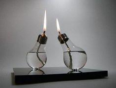 Lampadine utilizzate trasformate in lampade ad olio