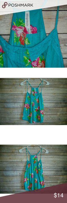 Floral Tank Top, Medium Aeropostale  Medium  Great for summer! Has a lace detail on front Adjustable straps! No flaws! Great pre-owned condition! Tops Tank Tops