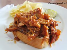 The Country Cook: Shredded BBQ Chicken {Slow Cooker}
