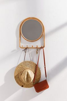Check out Ramis Storage Mirror Multi-Hook from Urban Outfitters Storage Mirror, Wall Storage, Entryway Storage, Full Length Mirror Urban Outfitters, Full Length Mirror Wall, Hanging Hats, Mirror With Hooks, Wood Wall Shelf, Wall Shelves