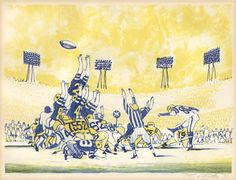 Colorful lithograph of a football game depicting a field goal kicked in The Last Five Seconds, drawn on stone by the prolific artist Dong Kingman and commissioned by American Express in 1971 as a limited edition print. Kingman was a prolific Chinese-American artist whose work ranged from watercolors to murals to artwork for major motion pictures. He also designed the Hong Kong pavilion for the 1964 New York World's Fair. Art Club Projects, Pictorial Maps, Chinese American, World's Fair, Sports Art, Antique Prints, Limited Edition Prints, American Artists, Natural History