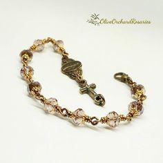 Chalcedony Stone, Rosary Bracelet, Catholic Gifts, Rosaries, Bead Caps, Crucifix, Handmade Bracelets, Miraculous, Plum