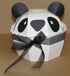 Sharon Langford Designs: A Panda Box! Valentine Boxes For School, Tooth Box, Gift Wrap Box, Gift Boxes, Cricut Cuttlebug, Cricut Cartridges, Diy And Crafts, Paper Crafts, Sweet Box