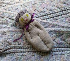 Lavender Filled Sachet Sock Doll Grey Cat Blue Green by Pedricks