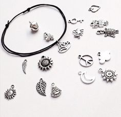 Featured #etsy Seller: Silver beaded anklet, black cord charm anklet. Sunflower jewellery, buddha bracelet, turtle gifts by… #jewellery