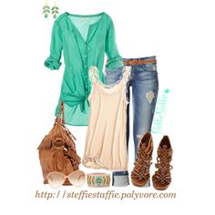 Teal Green & Peach, created by steffiestaffie on Polyvore