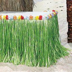 2 Hawaiian LUAU PARTY Green Grass Table Skirt Hibiscus Flower Lot Beach Decor