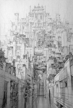 Visualize futuristic cities with a dense and detailed architecture that m . - Visualize futuristic cities with a dense and detailed architecture drawn with a pen # - Perspective Drawing Lessons, Perspective Art, 3d Drawings, Landscape Drawings, Detailed Drawings, Art Du Croquis, City Drawing, Drawing Art, Drawing Ideas