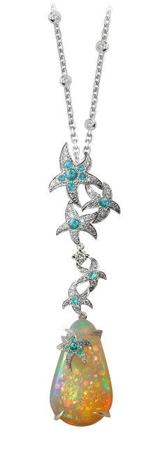 Océane necklace / Opals diamonds paraiba tourmalins / Mathon Paris