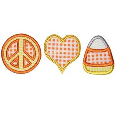 Peace Love & Candy Corn Machine Embroidery by appliquetime on Etsy, $2.50