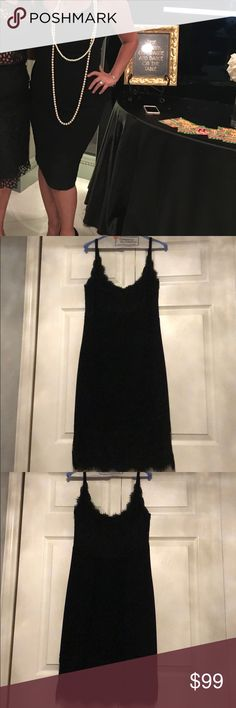 Diane Von Furstenbeg lace LBD Pre owned Diane Von Furstenberg Black dress. With lace on the top and bottom. This strap beautiful dress is size 12. They do run a little small. May show very little signs of wear. Just had it professionally dry cleaned. 100% authentic. The dress also has lining. Diane Von Furstenberg Dresses Midi