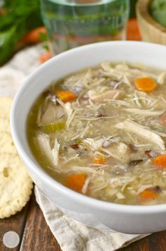 "Crock Pot Chicken and Wild Rice Soup could not be simpler nor more comforting. Simply add fridge and pantry staples into the crock pot then push ""on""! 