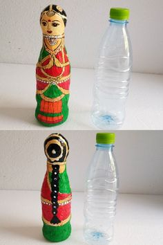 "Best plastic bottle crafts has been so much fun and beautiful. It's hard to believe that we can make many things including this adorable bottle ""How to make plastic bottle doll"" Plastic Bottle Decoration, Plastic Bottle Art, Reuse Plastic Bottles, Plastic Bottle Flowers, Recycled Bottles, Easy Plastic Bottle Crafts, Bottle Bottle, Waste Bottle Craft, Craft From Waste Material"