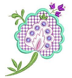 Crazy Quilt Machine Embroidery Designs | Plaid Flowers