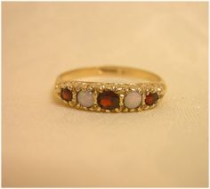 Vintage English Gold Ring Opal Garnet Ring 9K Gold by zofiVintage, £175.00
