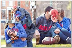 love Love LOVE the football theme engagement photos. Swap with jerseys, but mad cute!