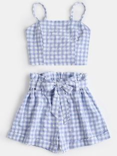 outfits with shorts Plaid Cami Top And Belted Shorts Set. This casual two-piece set covers a top and belted shorts. With plaid pattern throughout, this trendy top emphasizes an elas Cute Summer Outfits, Trendy Outfits, Girl Outfits, Cute Outfits, Fashion Outfits, Womens Fashion, Trendy Fashion, Two Piece Outfits Shorts, Shorts For Girls