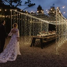 All lit up 🌟 Anyone thinking about a curtain of fairy lights for your wedding reception? Our advice. Field Wedding, Farm Wedding, Dream Wedding, Wedding Ideas, Wedding Pictures, Outdoor Fairy Lights, Fairy Lights Wedding, Small Wedding Receptions, Intimate Wedding Reception